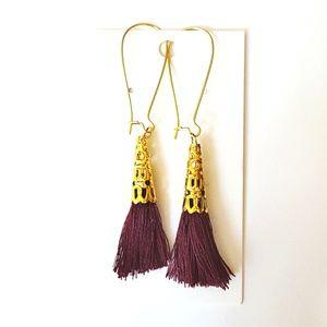 Maroon + Gold Tassel Drop Earrings